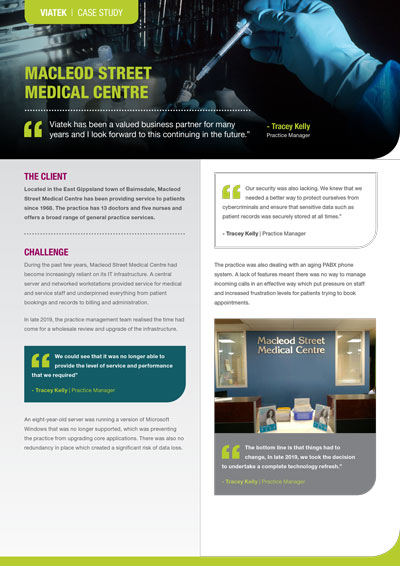 Macleod Street Medical Centre Case Study